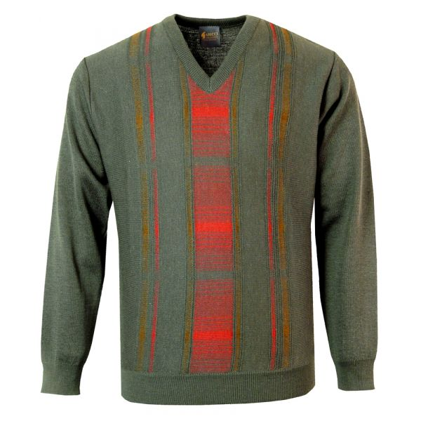 Gabicci V Neck Jumper in Camo with Red Stripe Design