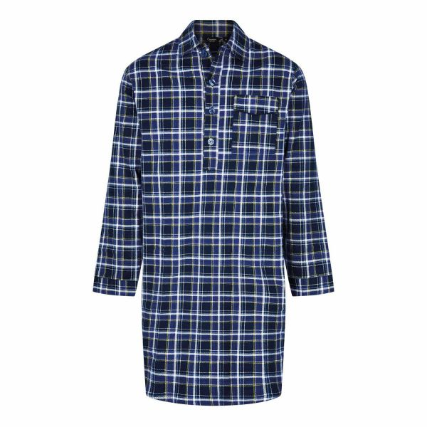 Canterbury - Blue Plaid Brushed Cotton Nightshirt from Champion