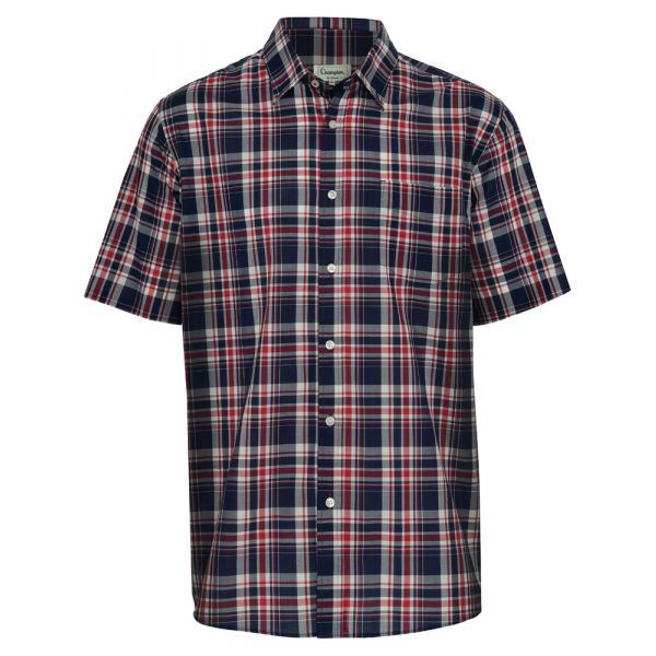 Brighton Red. Short Sleeve Easycare Shirt from Champion