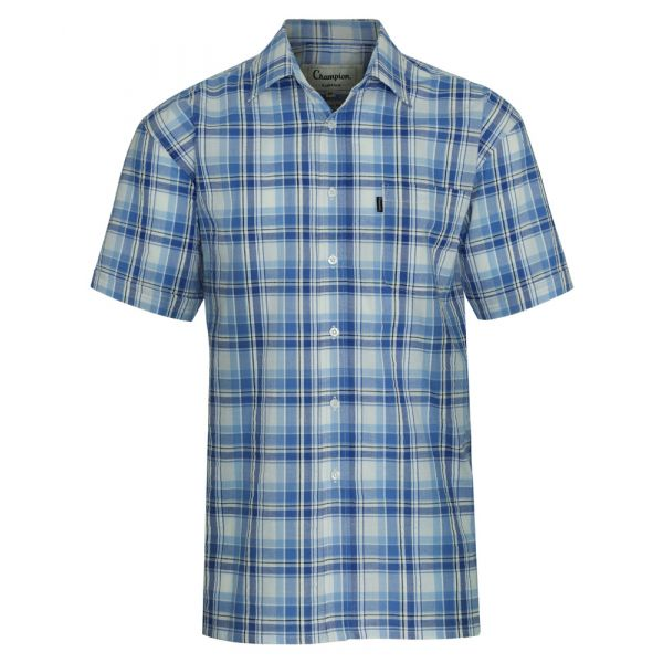 Radstock Blue. Short Sleeve Seersucker Cotton Shirt from Champion