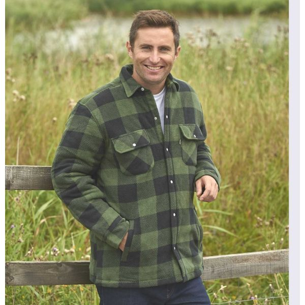 Kinross Green - Padded Fleece Shirt with Quilted Lining from Champion