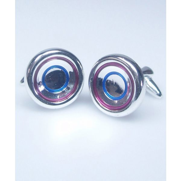 Plum and Blue Target Cufflinks