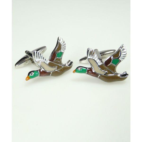 Enamel Duck In Flight Cufflinks