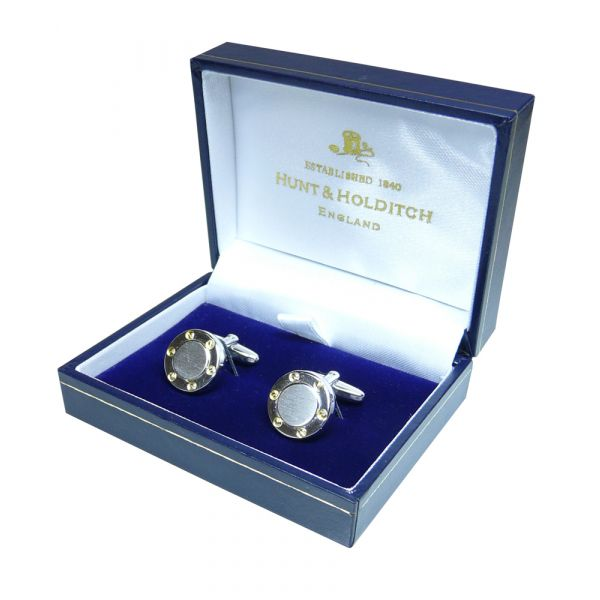 Rectangular Cufflinks with Mother of Pearl Centre from Hunt & Holditch