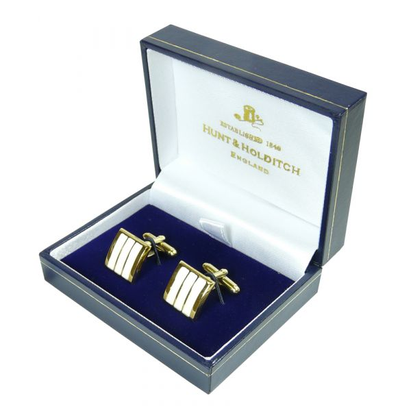 Gold Plated Square Cufflinks inset with 3 White Stripes from Hunt & Holditch