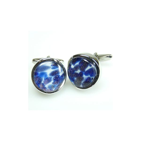 Round Abstract Blue Chunky Cufflinks