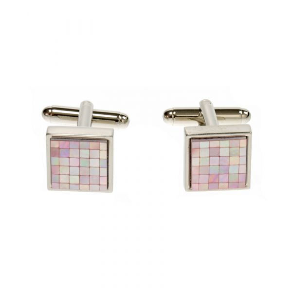 Chequer Square in Pink Mother of Pearl Cufflinks by Simon Carter.