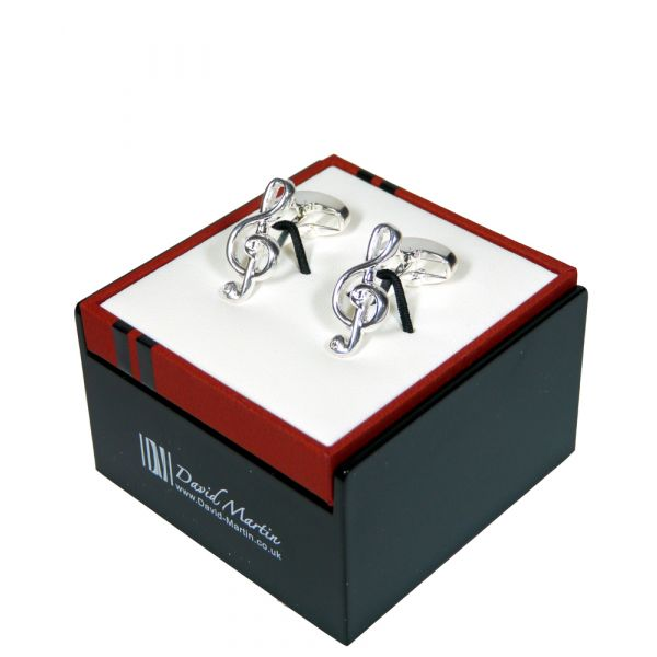 David Martin Silver Plated Treble Clef Cufflinks