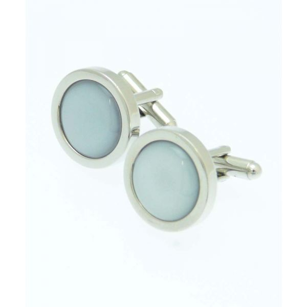 Round Grey Cufflinks from Fox and Chave