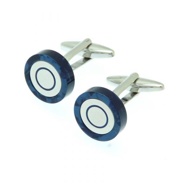 Patterned Ring in Navy Blue Cufflinks