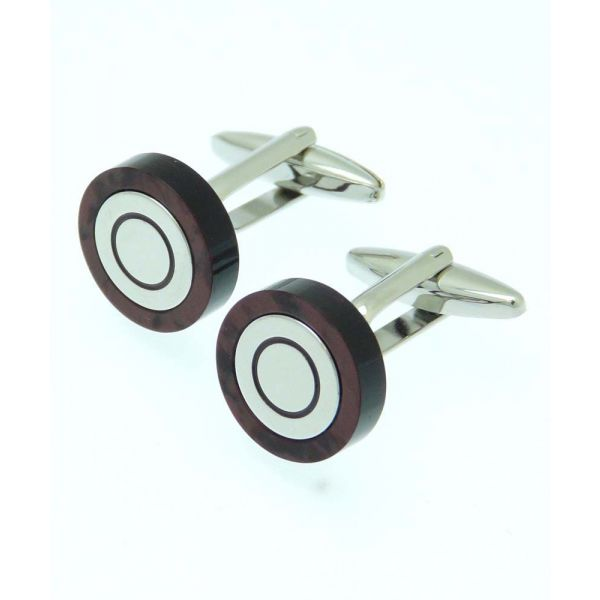 Patterned Ring in Deep Red Cufflinks
