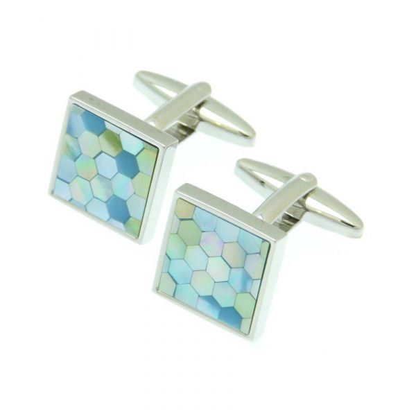 Square with Blue Hexagons Design Cufflinks