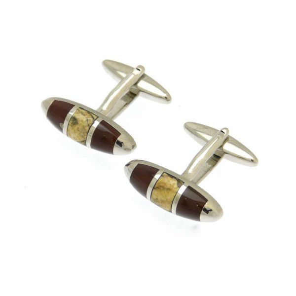Oval Design in Brown and Tan Cufflinks