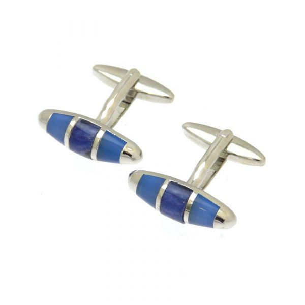 Oval Design in Blue and Royal Cufflinks