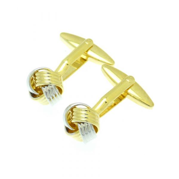 Knot and Weave in Silver Colour and Gilt Cufflinks