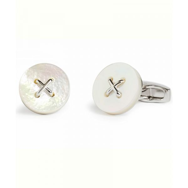 Mother of Pearl Button Design Cufflinks from Simon Carter