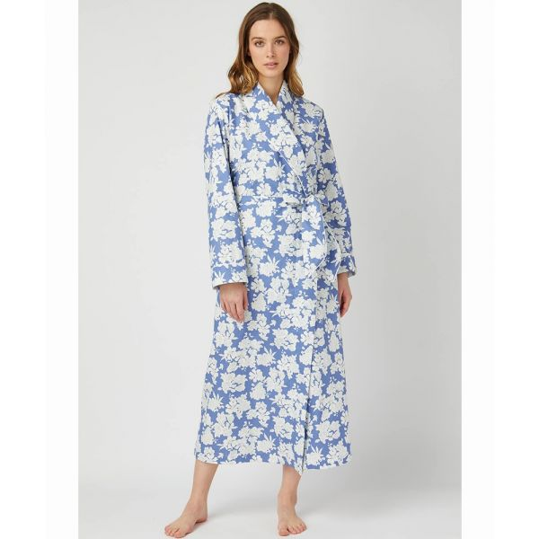 Ladies Dressing Gown in Blue Floral Design from Bonsoir of London