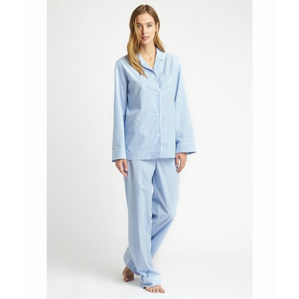 Ladies Pyjamas in Blue Gingham from Bonsoir of London