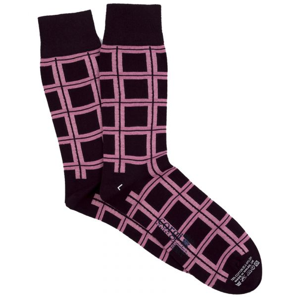 Pink Windowpane Design Cotton Socks from Corgi