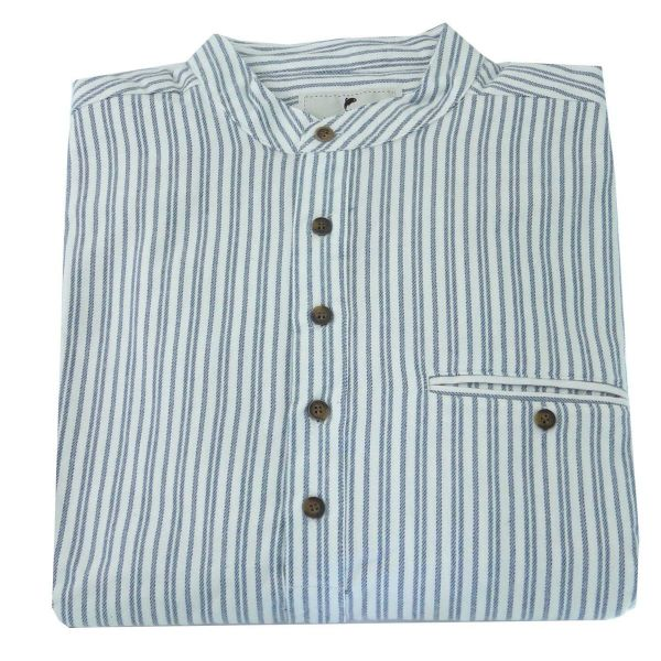 Lee Valley Traditional Flannel Grandfather Shirt in Blue and Ivory Stripe