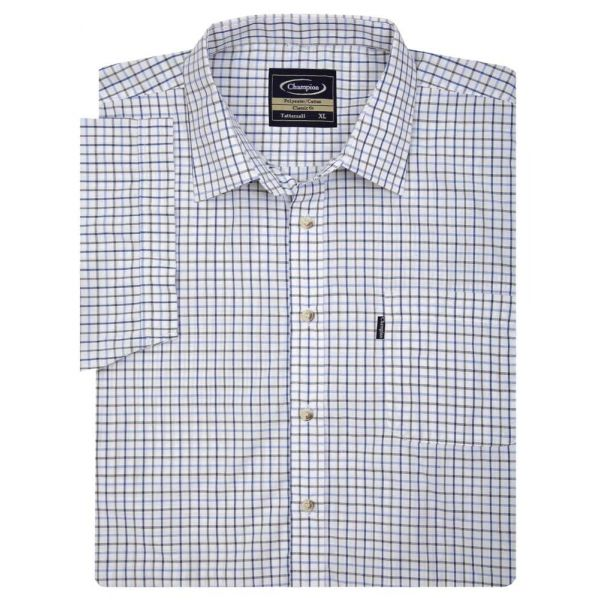 Tattersall Blue - Short Sleeve Easycare Shirt from Champion