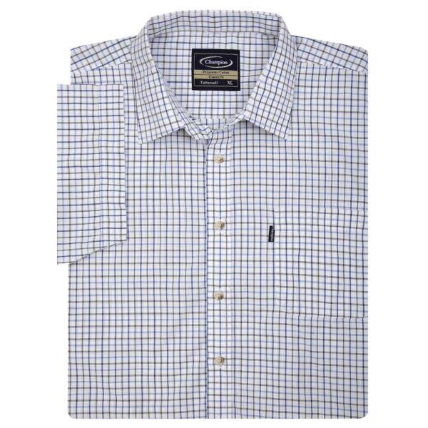 Tattersall Blue - Short Sleeve Easycare Shirt from Champion