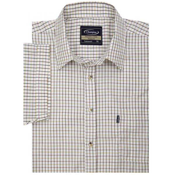 Tattersall Green - Short Sleeve Easycare Shirt from Champion