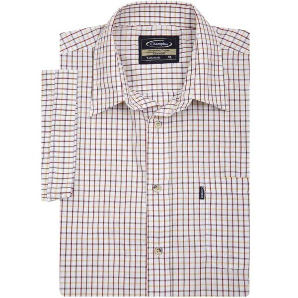 Tattersall Red - Short Sleeve Easycare Shirt from Champion