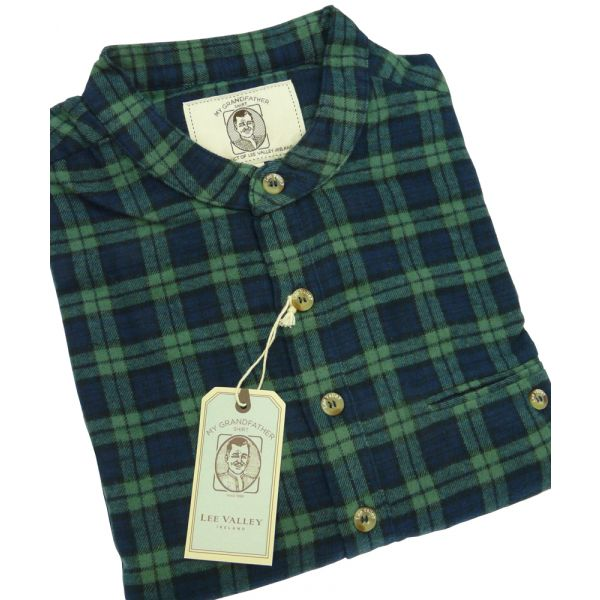 Traditional Flannel Grandfather Shirt in Green and Navy Check