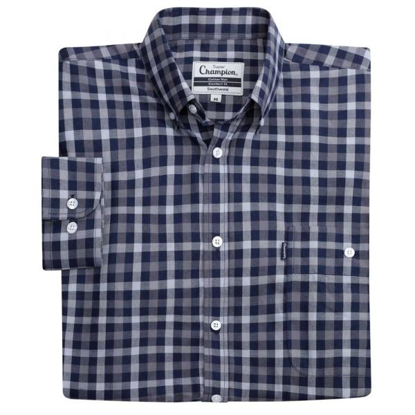 Southwold Navy - Button Collar Easycare Shirt from Champion