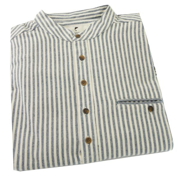 Traditional Flannel Grandfather Shirt in Navy and Cream Stripe