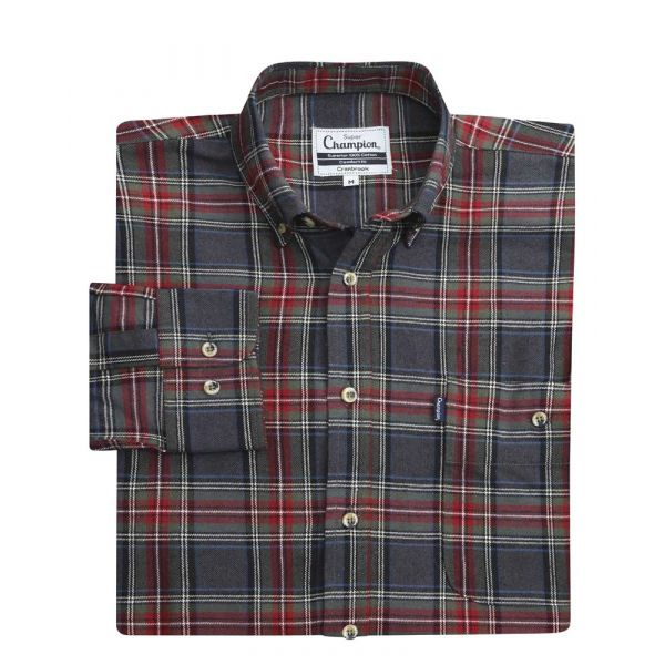 Cranbrook Grey - Button Collar Flannel Cotton Shirt from Champion