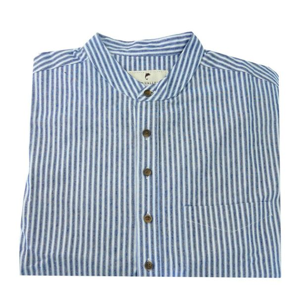 Lee Valley Vintage Flat Cotton Grandfather Shirt in Blue Stripe