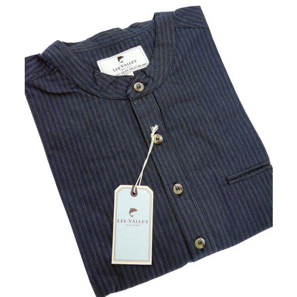 Navy Stripe Cotton Comfort Grandfather Shirt
