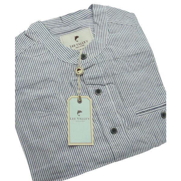 Blue Stripe Linen Blend Irish Grandfather Shirt
