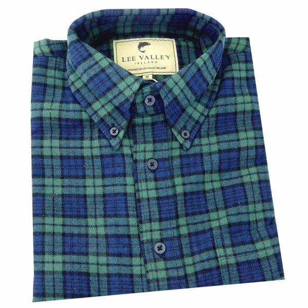 Green and Navy Tartan Flannel Button Down Collar Irish Shirt