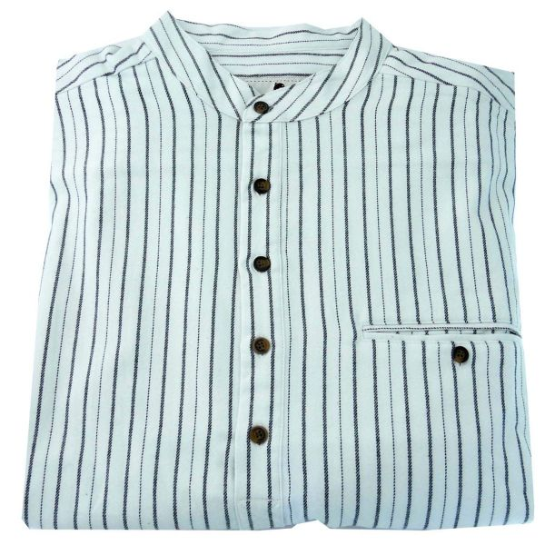 Mens Flannel Grandad Shirt in White with Black Stripes from Lee Valley Ireland