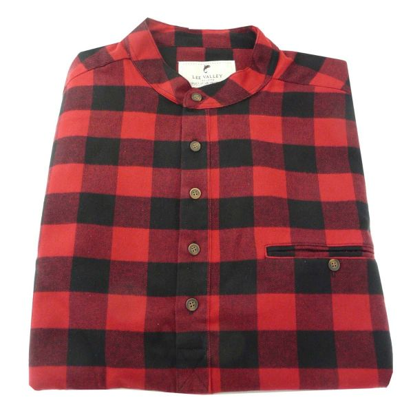 Mens Flannel Grandad Shirt in Red and Black Check from Lee Valley Ireland