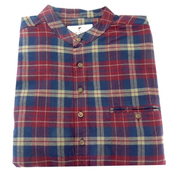Mens Flannel Grandad Shirt in Maroon and Navy Check from Lee Valley Ireland
