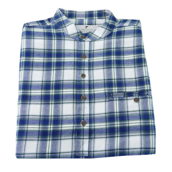 Mens Flannel Grandad Shirt in Blue Douglas Tartan from Lee Valley Ireland