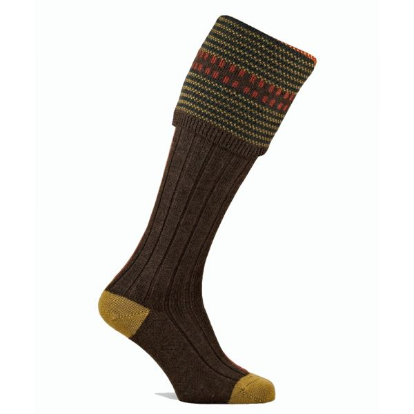 Cumbrian Shooting Socks in Mocha Brown from Pennine Socks