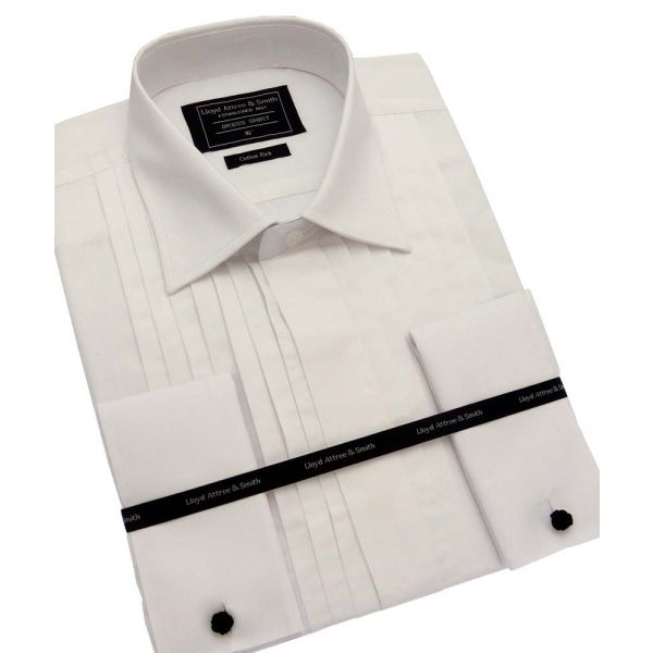 White Wide Pleat Dress Shirt