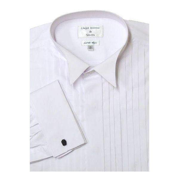 White Wide Pleat Wing Collar Dress Shirt