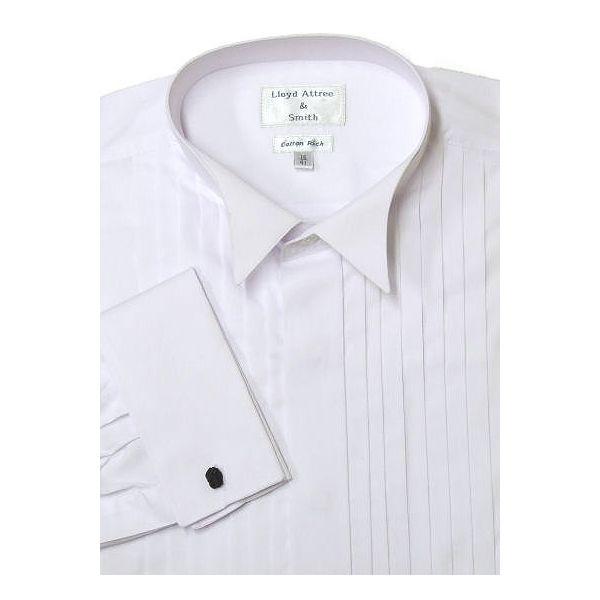 White Wide Pleat Wing Collar Dress Shirt