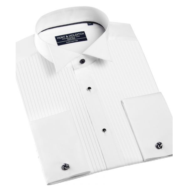 100% Cotton Wing Collar Pleated Front Dress Shirt from Hunt & Holditch