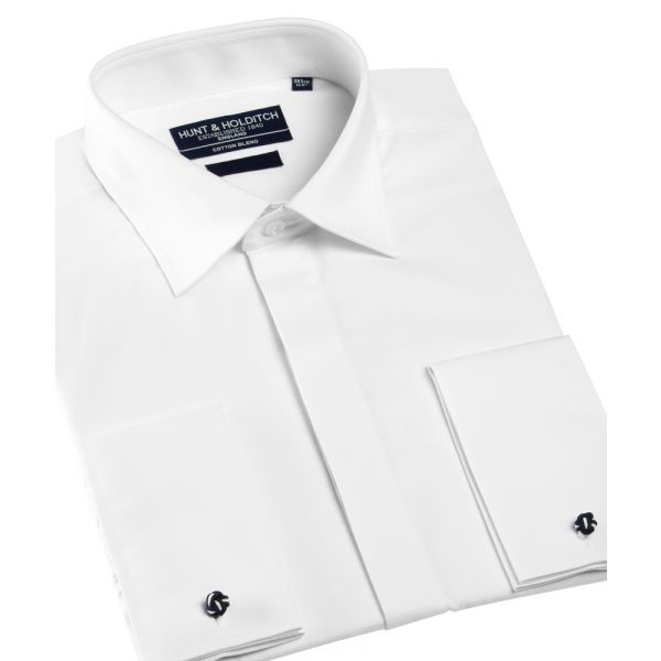 White Cotton Rich Cut Away Collar Morning Shirt from Hunt & Holditch