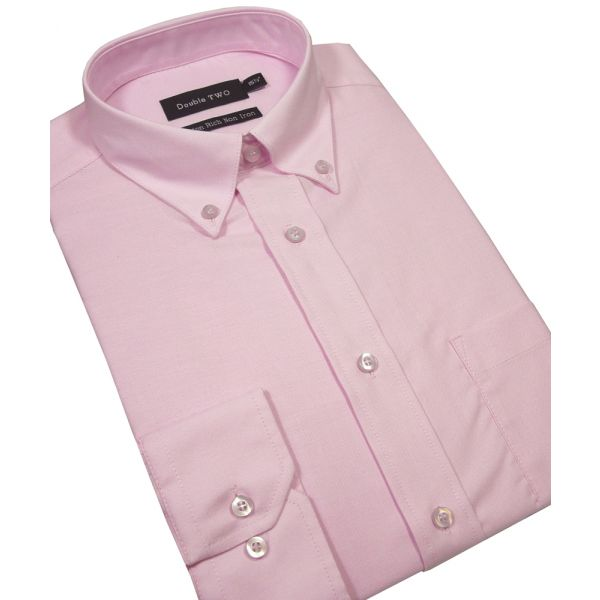 Pink Long Sleeved Button Down Oxford Shirt from Double Two