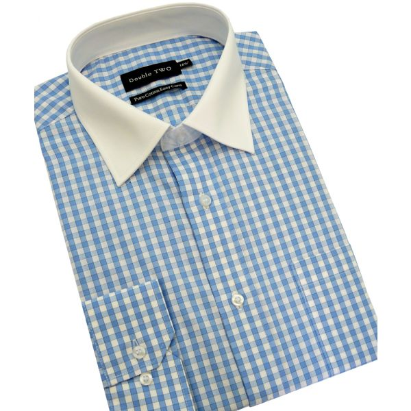 Blue Gingham Cotton Shirt from Double Two
