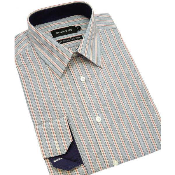 Dark Blue and Thin Red Stripe Cotton Shirt from Double Two