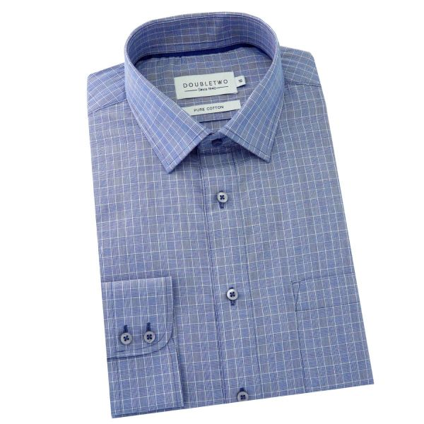 Double Two - Mens Cotton Shirt in Navy Prince of Wales Check